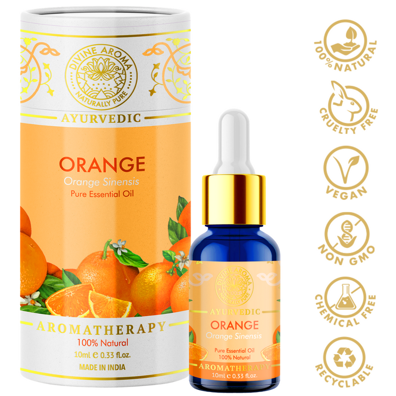 Divine aroma sweet orange 100% pure and natural essential oil in luxury packaging and blue bottle with golden dropper cap for aromatherapy for skin,hair,aroma,bath,mental wellness