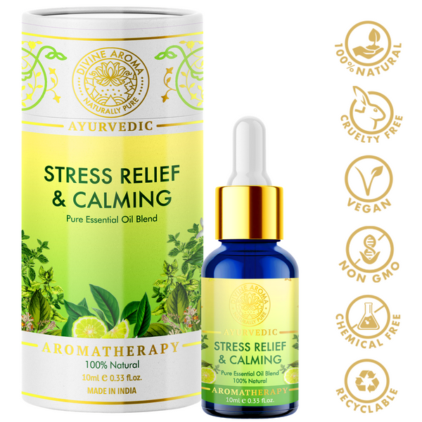 Divine aroma stress relief and calming 100% pure and natural essential oil blend in luxury packaging and blue bottle with golden dropper cap for aromatherapy for skin,hair,aroma,bath,mental wellness