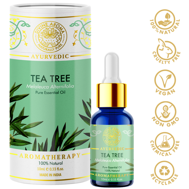Divine aroma tea tree 100% pure and natural essential oil in luxury packaging and blue bottle with golden dropper cap for aromatherapy for skin,hair,aroma,bath,mental wellness