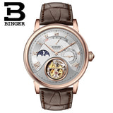 Genuine Luxury BINGER Brand TOURBILLON Crocodile leather strap Men Chronogra  Sapphire waterproof automatic mechanical watch