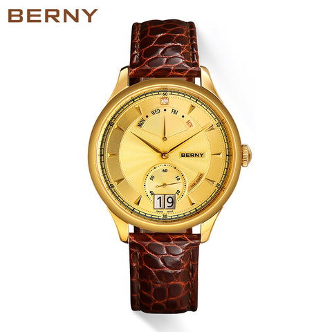 Berny 18K Gold Men's Business Luxury Quartz Watch - Swiss Movement