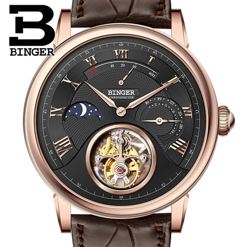Switzerland BINGER Watches Men Brand Luxury Seagull Mechanical Automatic Movement Watch Male Tourbillon Sapphire Alligator Hide