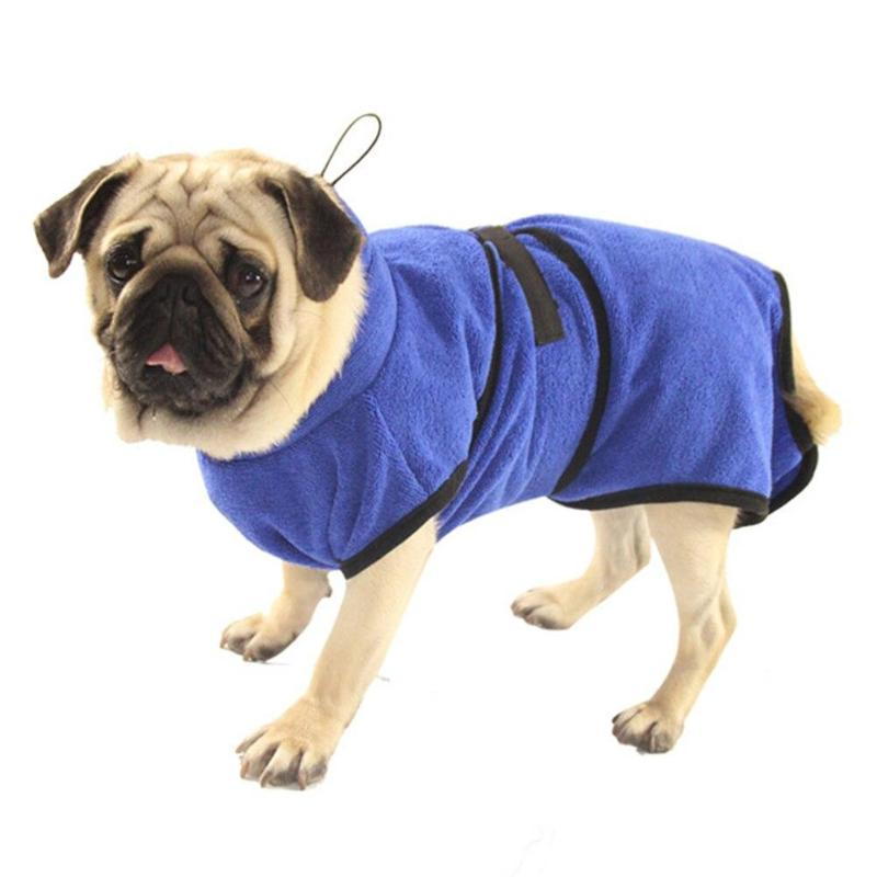Trendy Fam 200003721 Blue / XS Microfiber Absorbent Pets Bathrobe