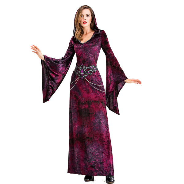 Halloween Retro Gothic Hooded Maxi Dress - otakumadness