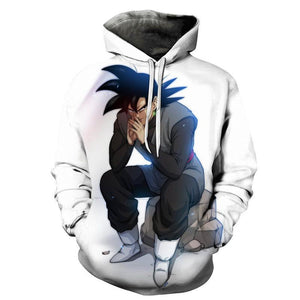 Dragon Ball Hoodies - Sitting Goku Pullover Hoodie OTA022 - otakumadness