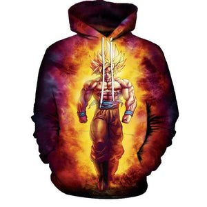 Dragon Ball Hoodies - Goku Super Saiyan Blue Awesome Pullover Hoodie OTA032 - otakumadness