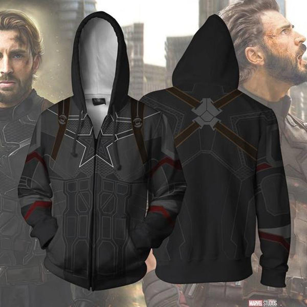 The Avengers Hoodies - Captain America Zip Up Hoodie OTA503 - otakumadness