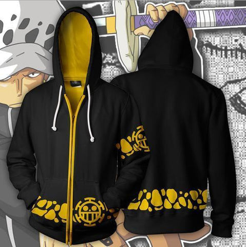 One Piece Hoodies - Trafalgar Law Zip Up Hoodie OTA542 - otakumadness