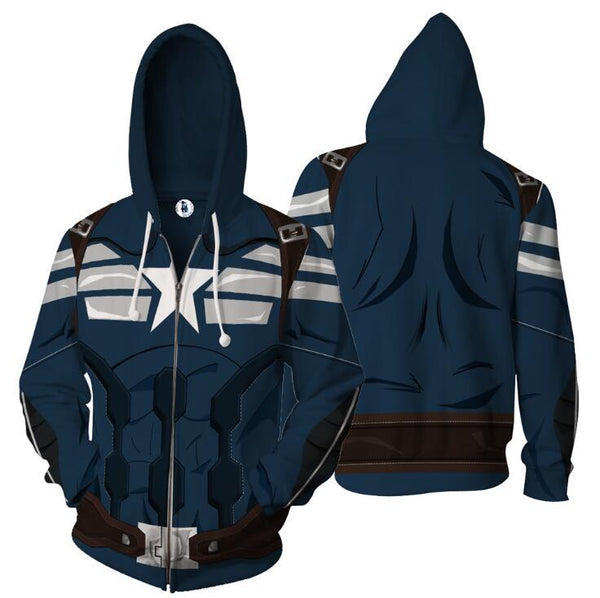 The Avengers Hoodies - Captain America Zip Up Hoodie OTA550 - otakumadness