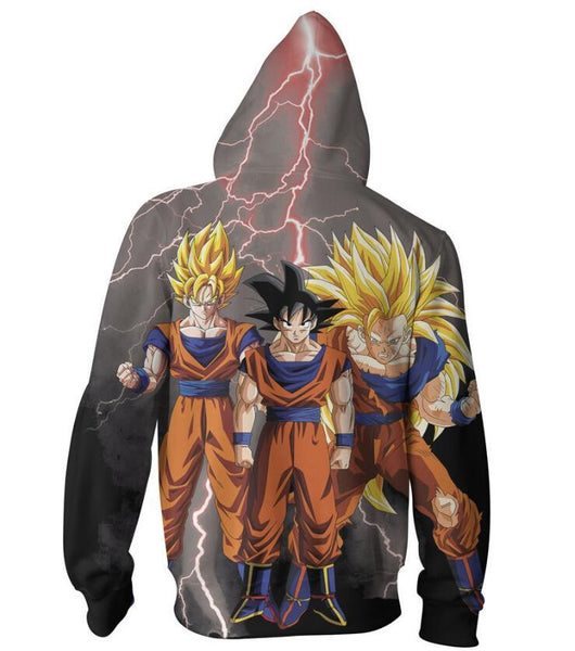 Dragon Ball Hoodies - Goku Super Saiyan Awesome Zip Up Hoodie OTA564 - otakumadness
