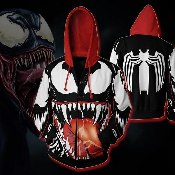 The Avengers Hoodies - Venom 3D Zip Up Hoodie OTA573 - otakumadness