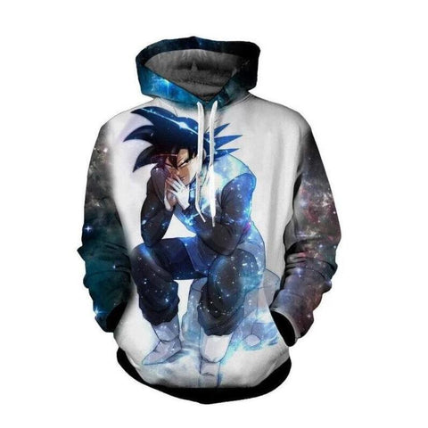 Dragon Ball Hoodies - Sitting Goku Pullover Hoodie OTA588 - otakumadness