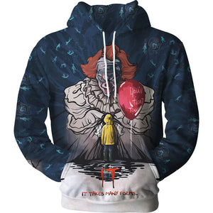Pennywise Clown Cosplay Costume 3D Print Pullover Hoodie OTKS221 - otakumadness