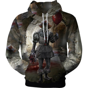 Pennywise Clown Cosplay Costume 3D Print Pullover Hoodie OTKS216 - otakumadness
