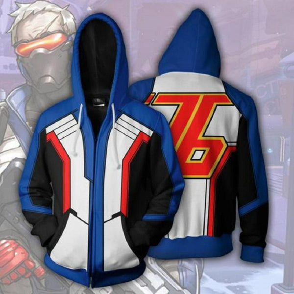Overwatch Hoodies - Soldier 76 Zip Up Hoodie OTA567 - otakumadness