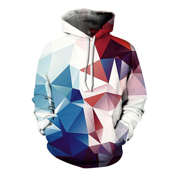 3D Print Hoodies - Light Colorful Rhombus Pattern Pullover Hoodie OTA018 - otakumadness