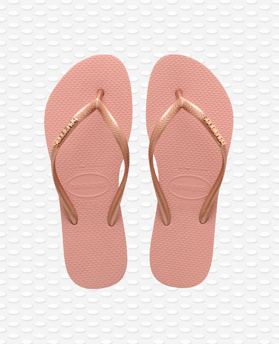 HAVAIANAS SLIM LOGO METALLIC ROSE NUDE/ROSE GOLD