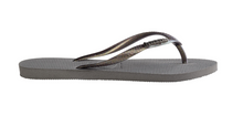 Load image into Gallery viewer, HAVAIANAS SLIM LOGO METALLIC STEEL GREY/RAINBOW GREY GLITTER