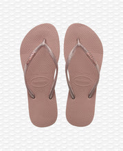 Load image into Gallery viewer, HAVAIANAS SLIM LOGO METALLIC ROSE