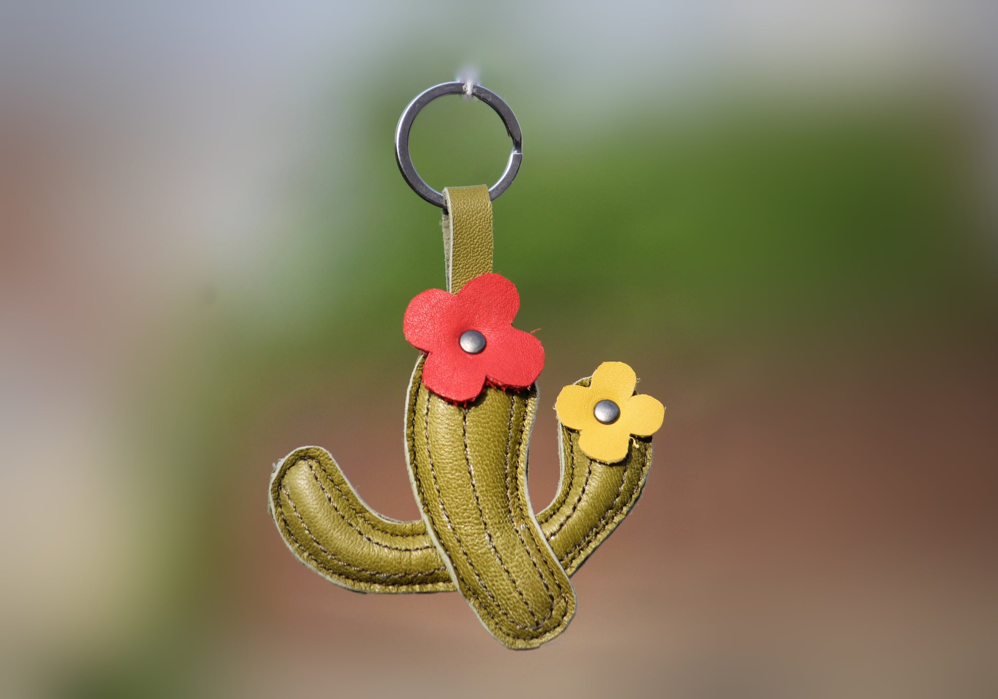 Easter Cactus Leather Key rings