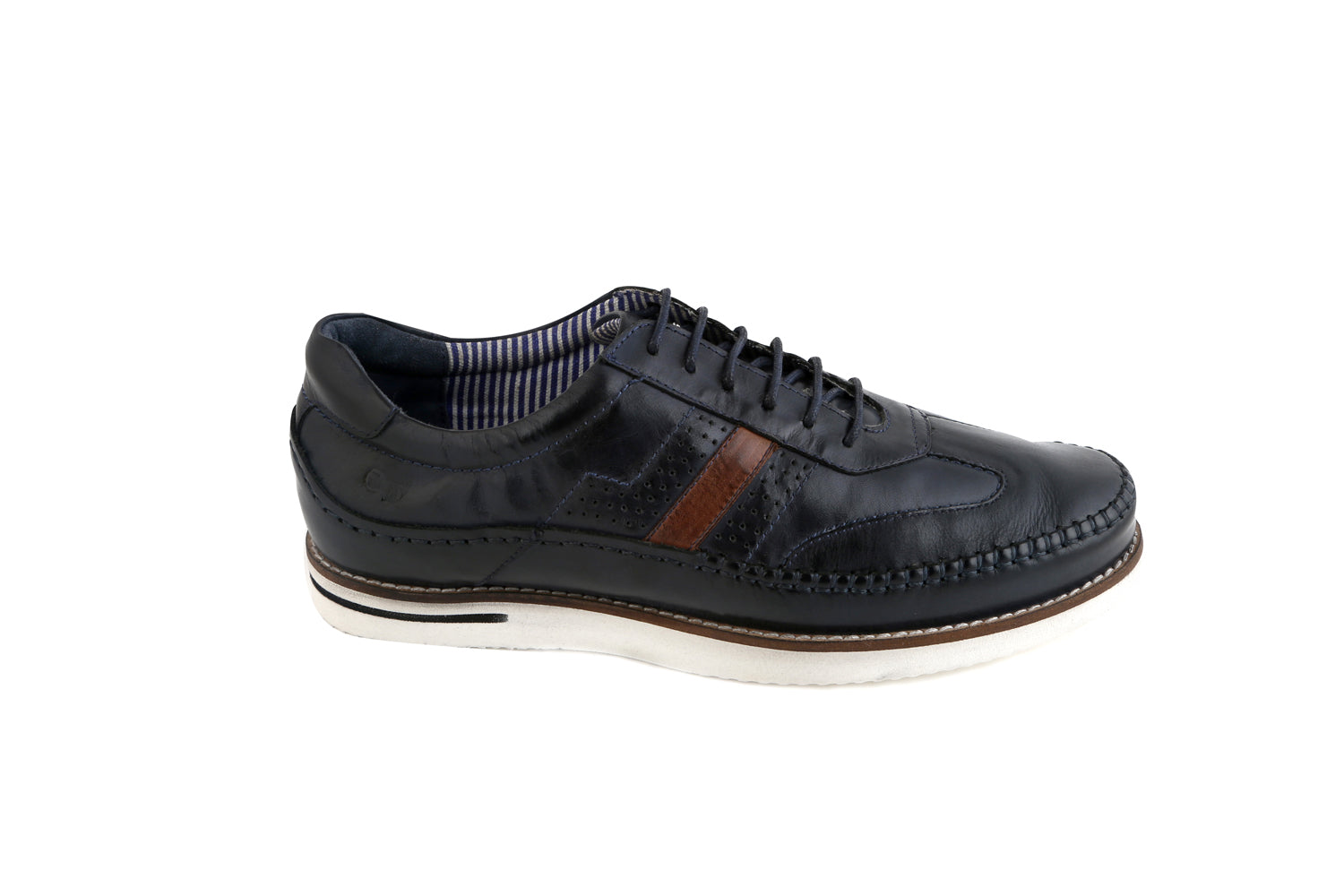 Distance, Navy Lace Up Casual Shoe