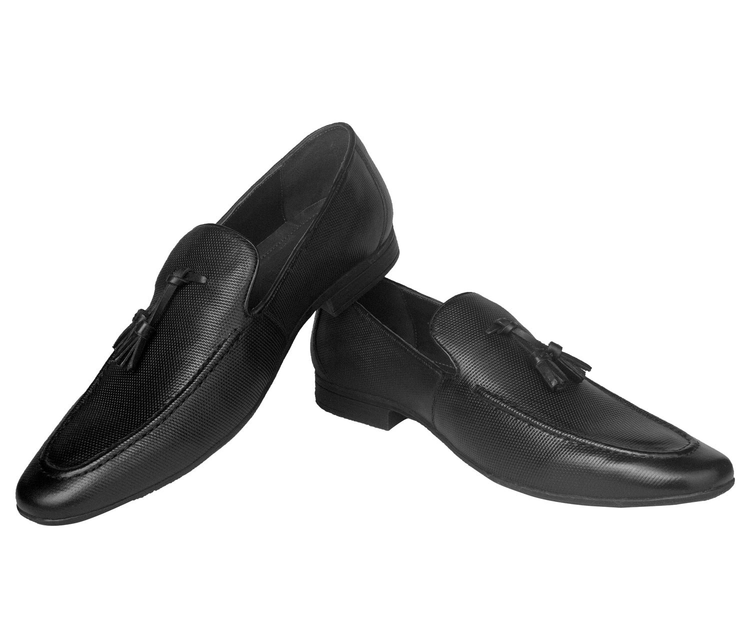 Black Commando Loafer with Tassels