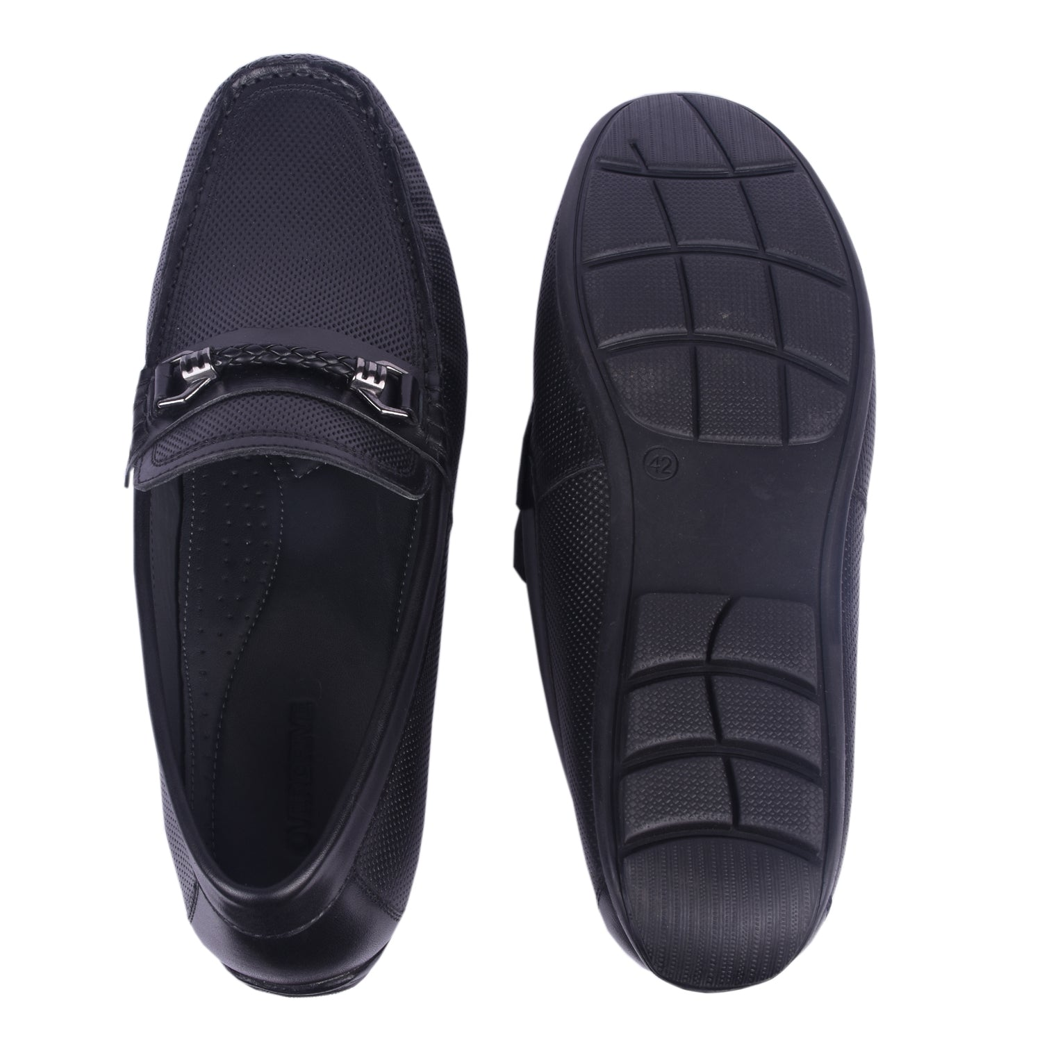 Rain Man Black Buckle Loafers