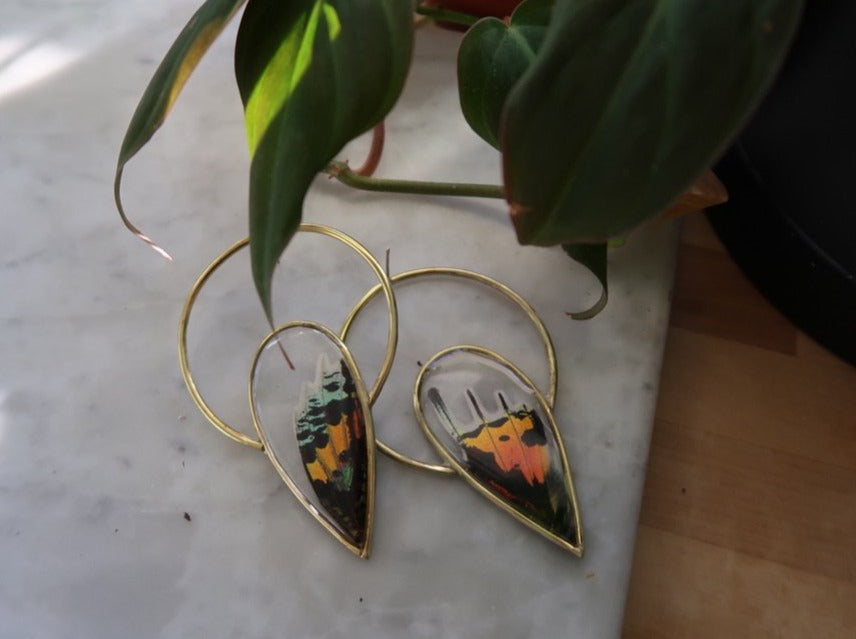 Butterfly Halo Spike Earrings (made to order)