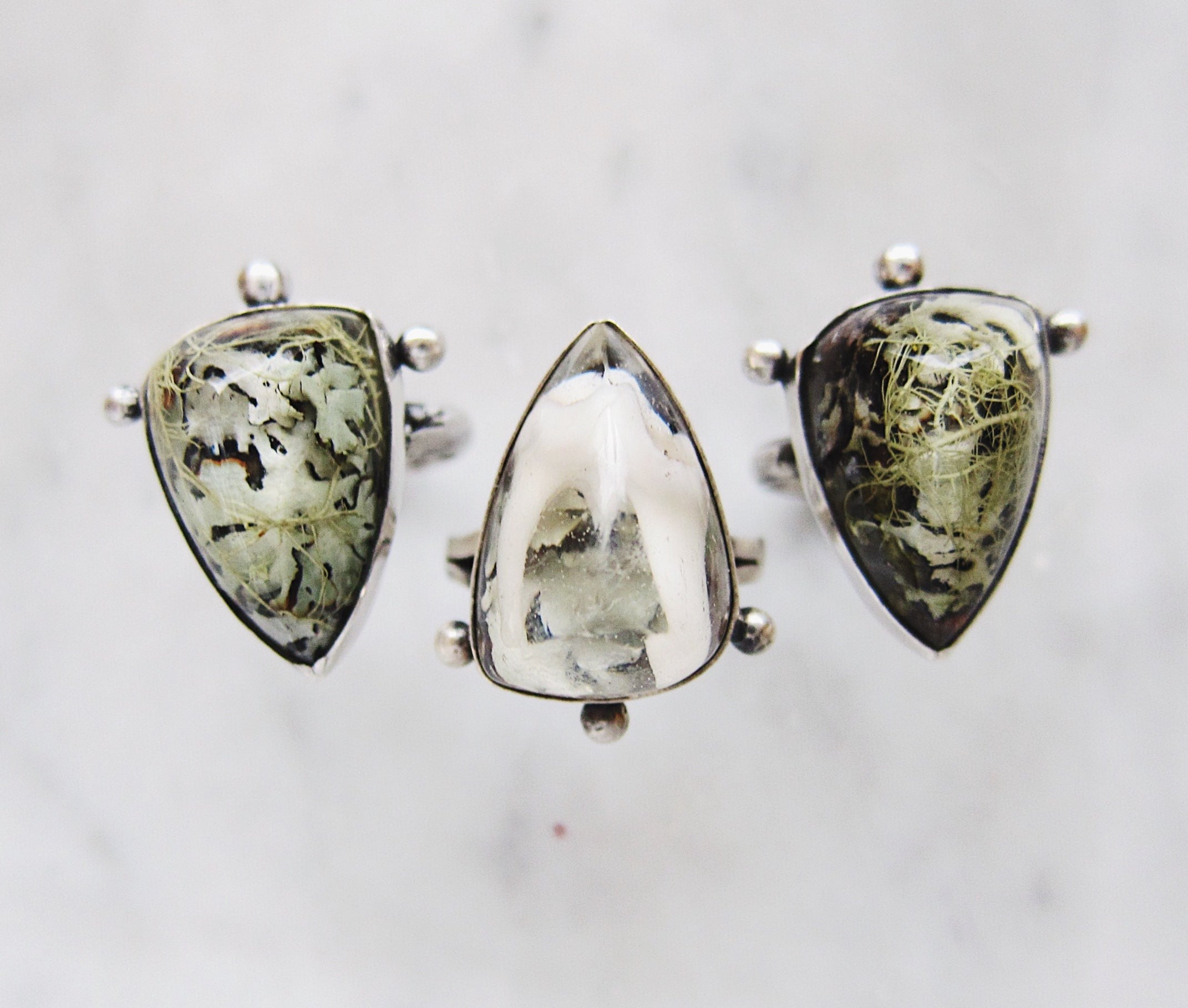 Lichen and Tooth Pyramid Ring - choose your 'stone'