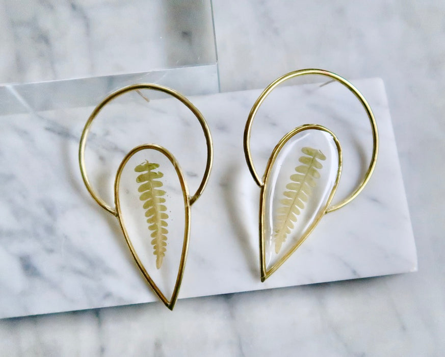 Fern Halo Spike Earrings (made to order)