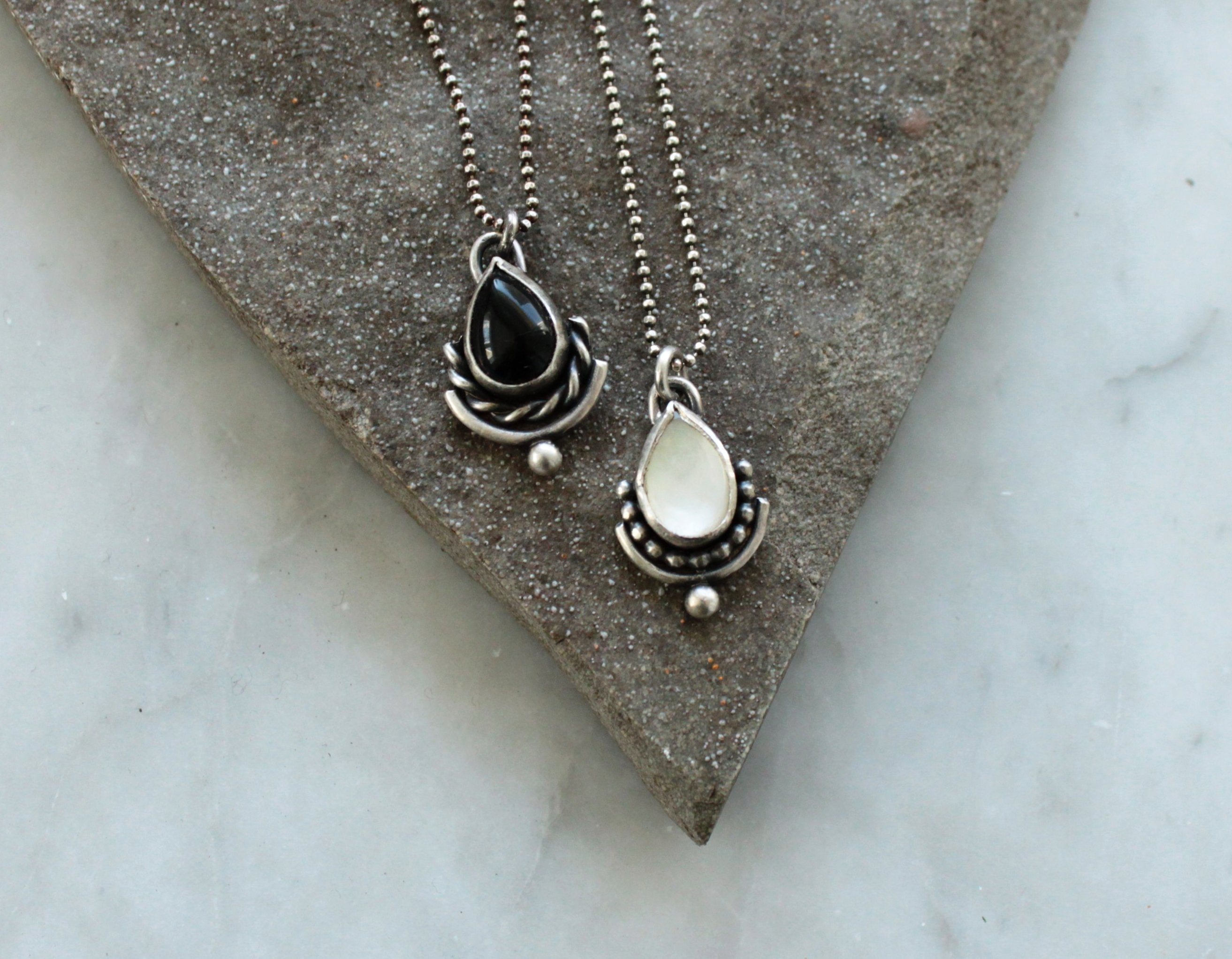 Drop + Twist Pendant - choose your stone