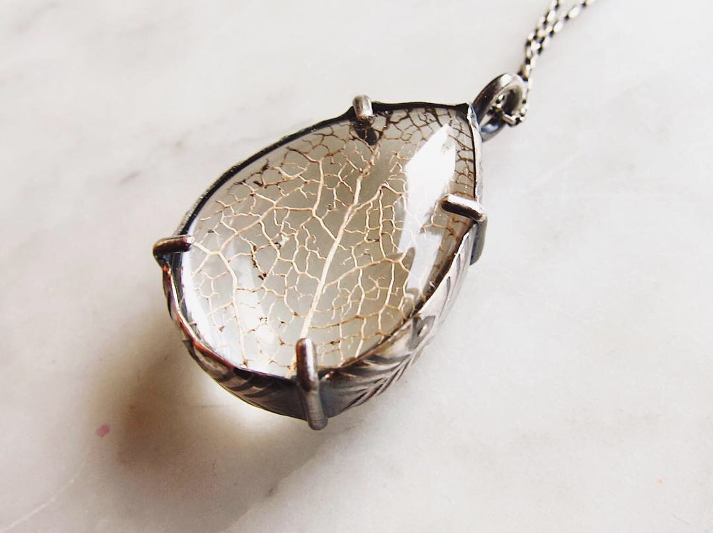 LG Leaf Skeleton Pools of Light Pendant - made-to-order