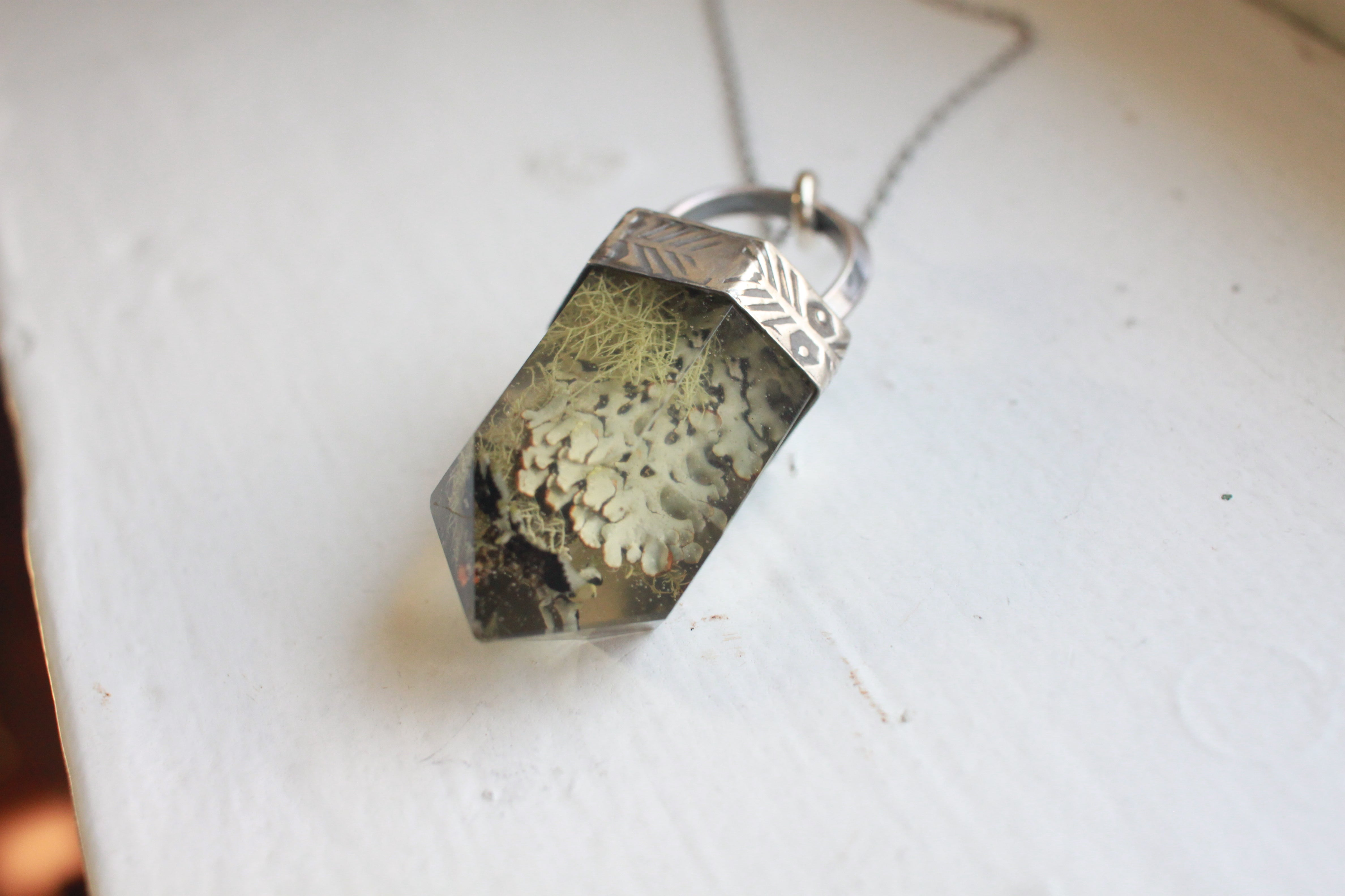 Lichen False Crystal Point Necklace - made to order