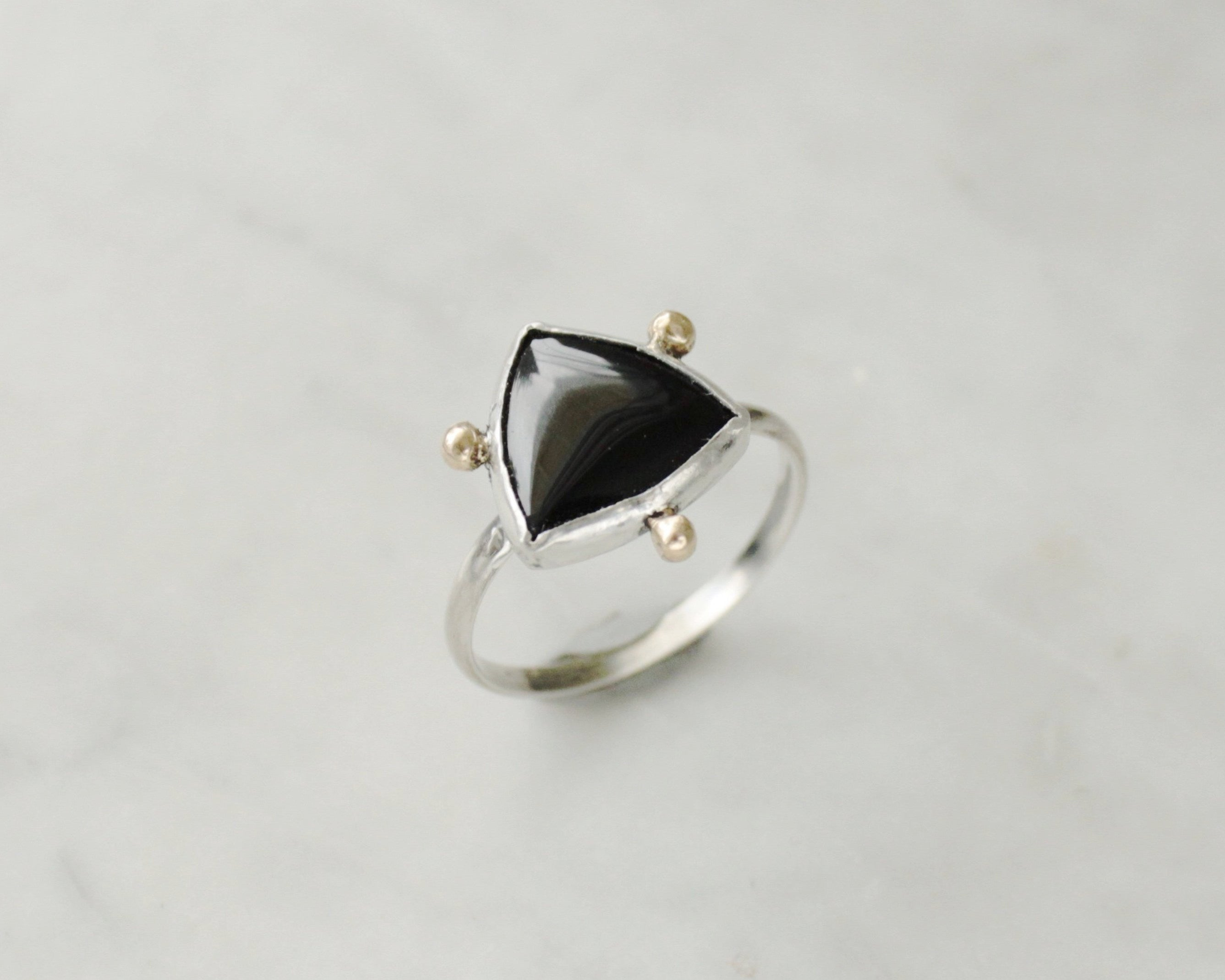 Onyx Trillion Ring size US 8.5