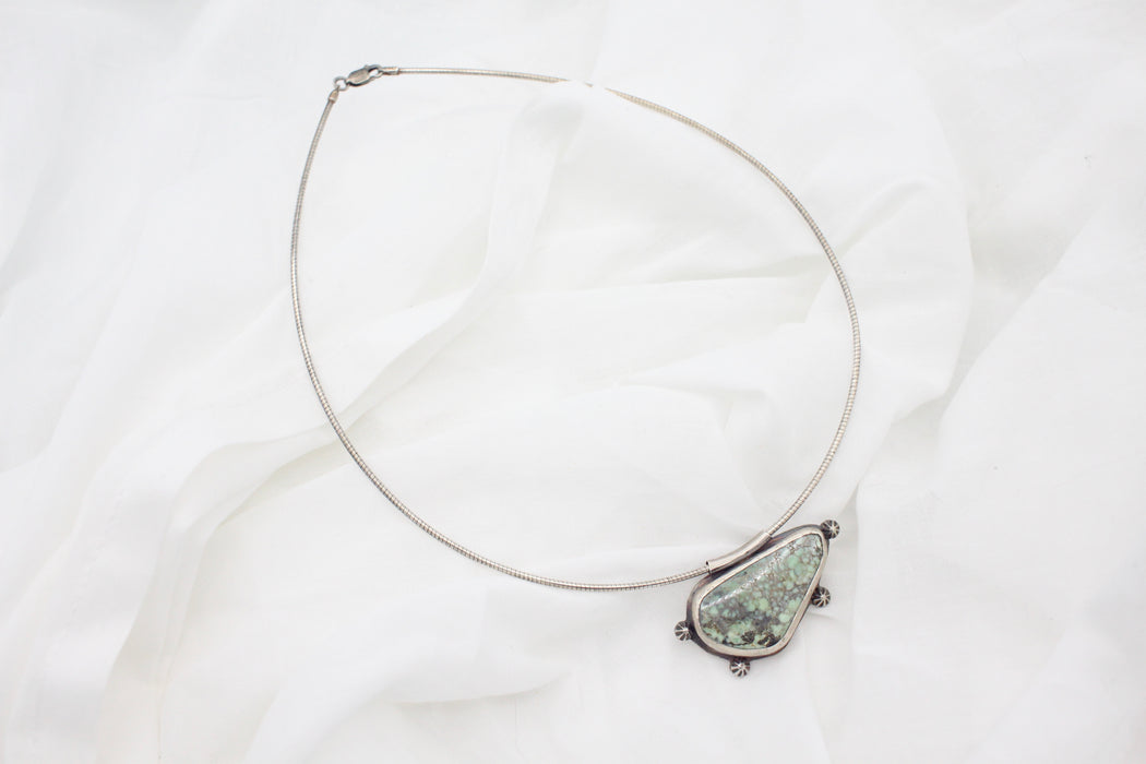 Athena Variscite and Sterling Silver Pendant on Omega Chain