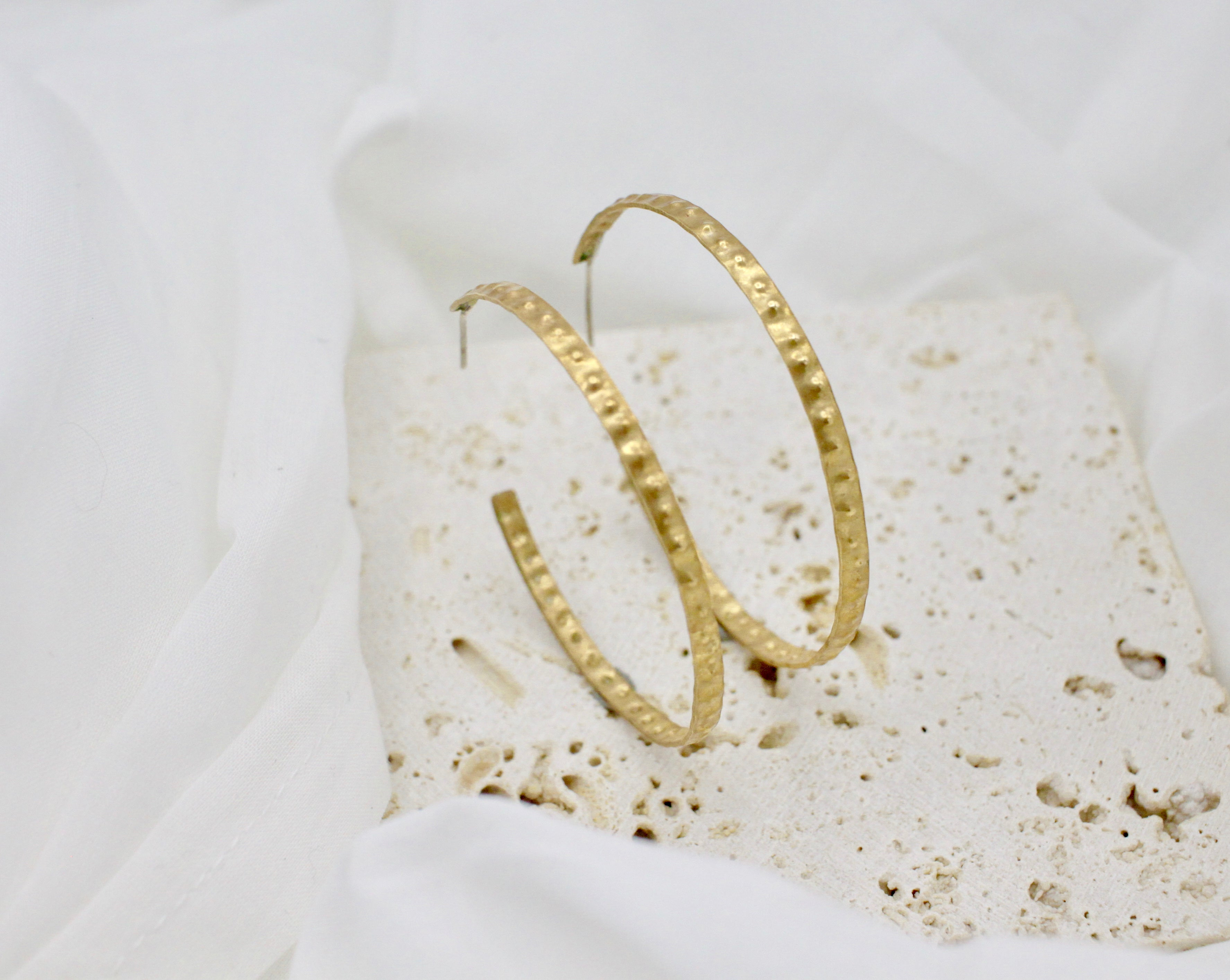 Textured Brass Hoops - made to order - choose your size