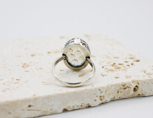 Medium Oval Snakeskin Pools of Light Ring - stamped - size US 6.5