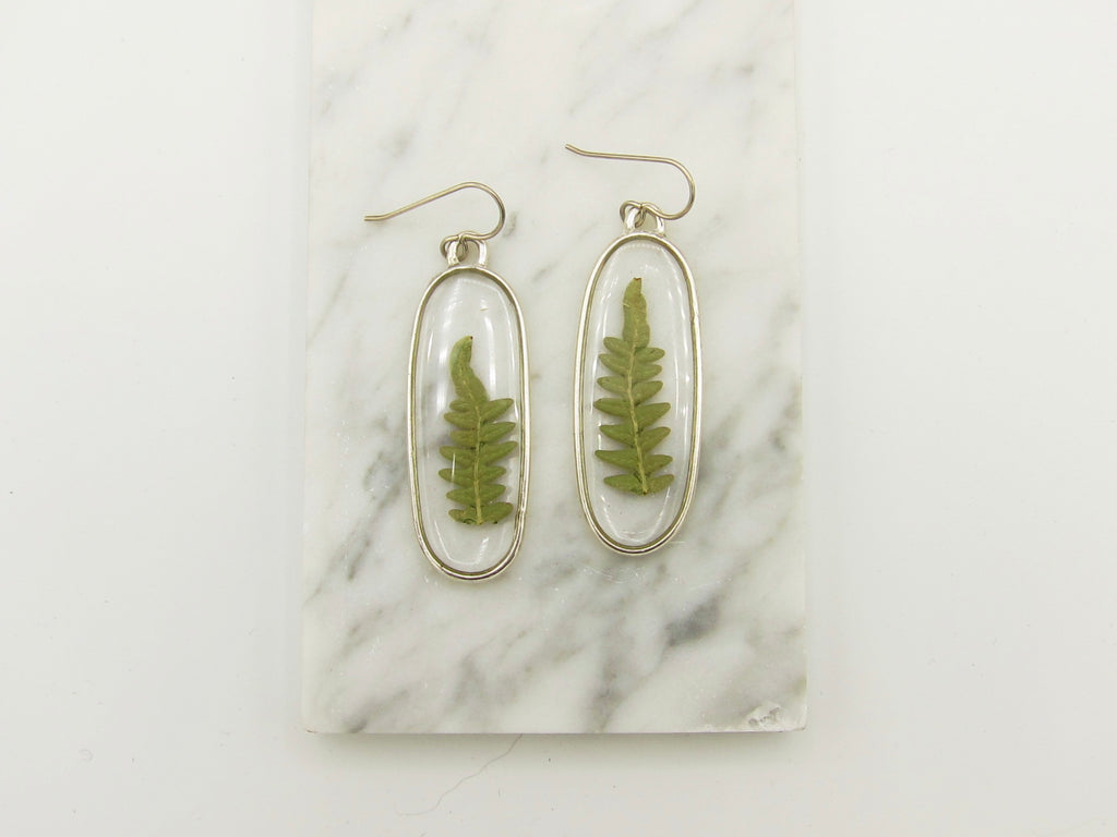 Oblong Fern Dangle Earrings