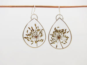 Teardrop Seed Pod Dangle Earrings