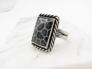 Fossilized Coral Ring size 9-9.25 US