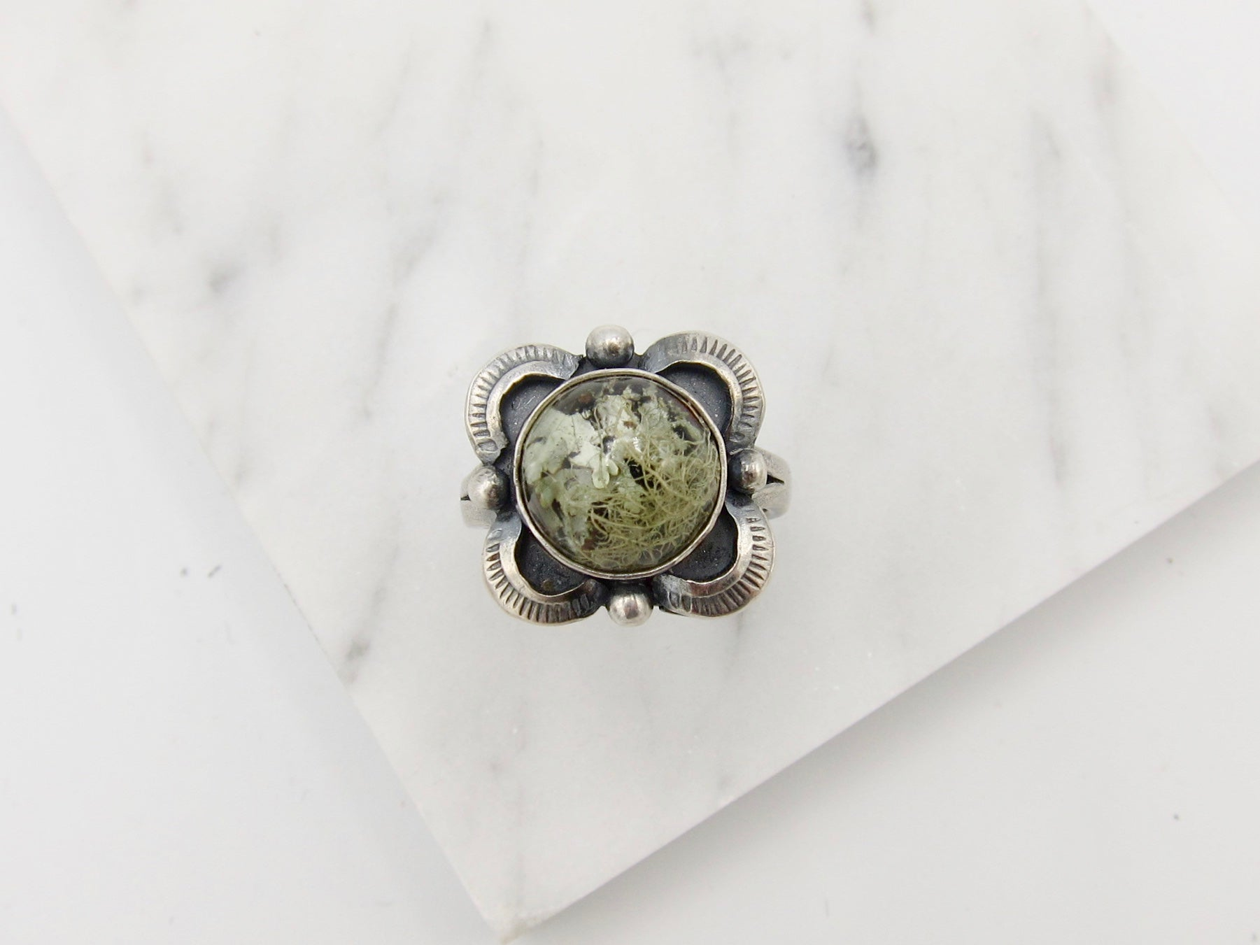 Lichen and Sterling Ring - size 7 US