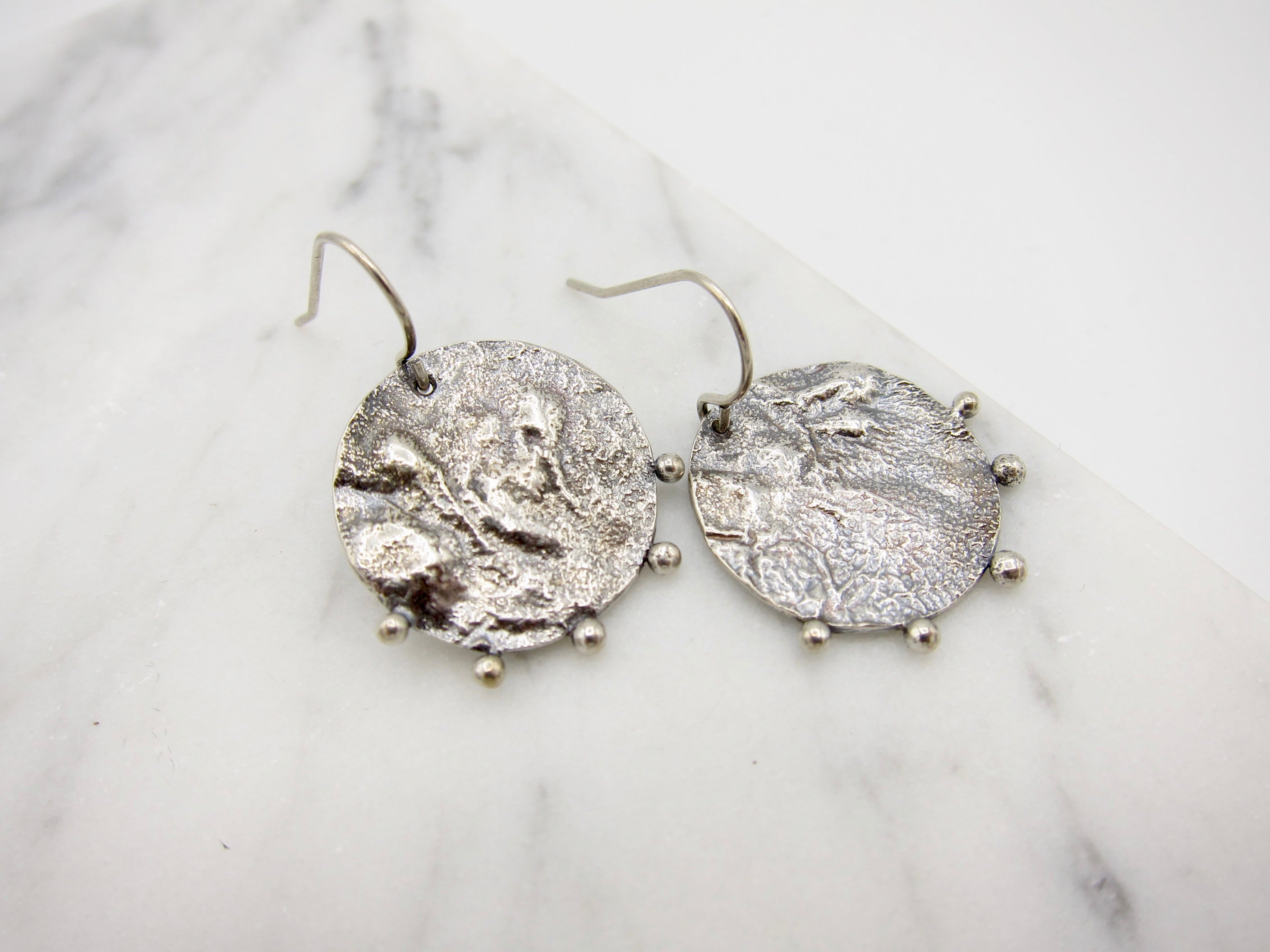 Reticulated Sterling Silver Earrings