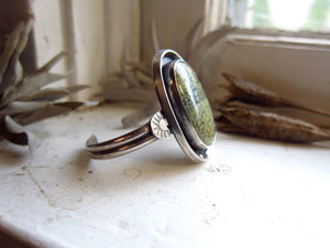 Tree Frog Variscite and Sterling Silver Statement Cuff (small)