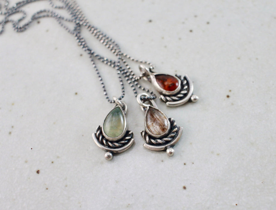 Mini Drop and Twist Pendant - choose your stone