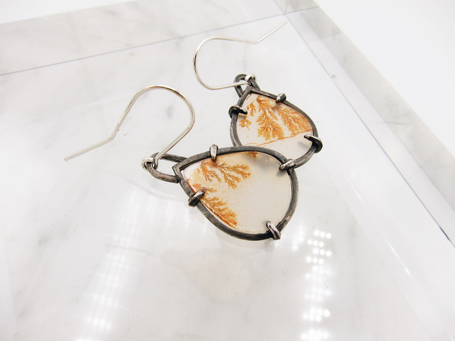 Dendritic Agate Slice Earrings