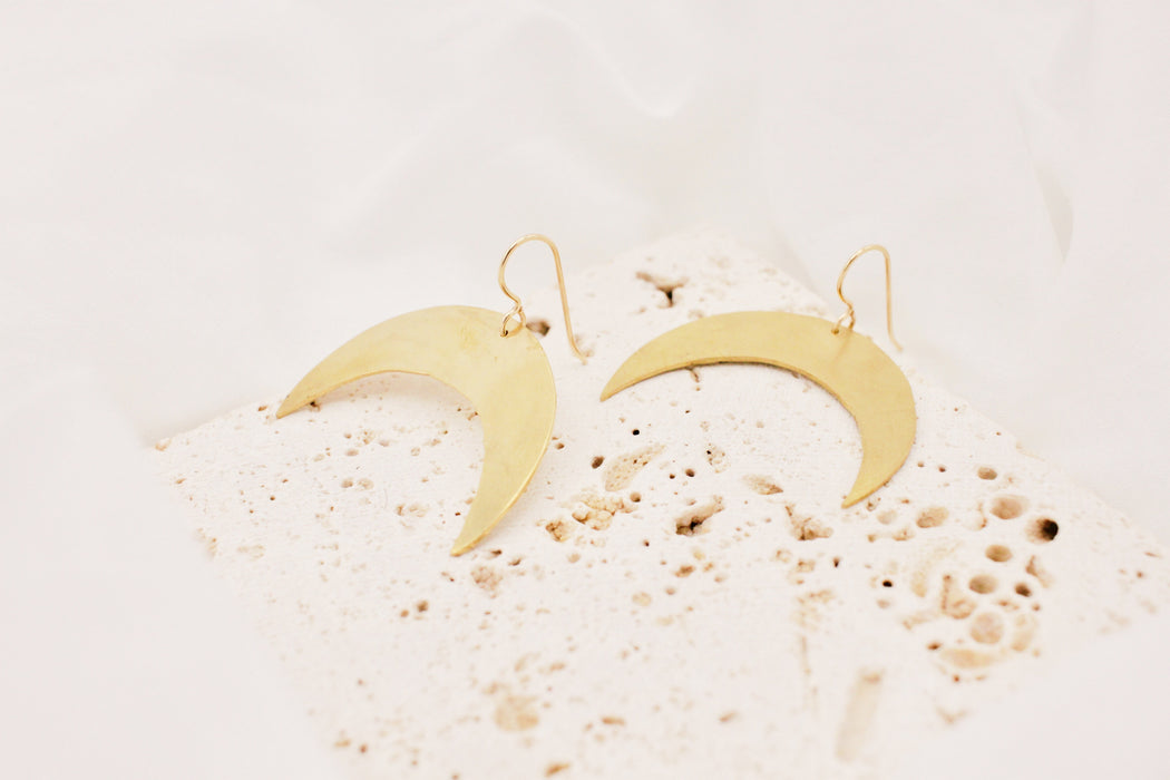 Crescent Moon Earrings - LG - made to order