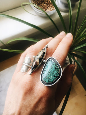 Tibetan Turquoise Shadowbox Ring - US 8.5