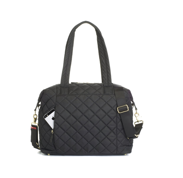 STORKSAK STEVIE QUILTED BABY BAG - BLACK