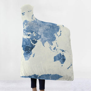 World Blue Map 3D Hooded Blanket