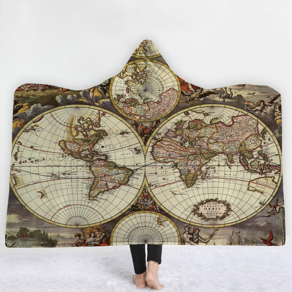 World Ancient Times Map 3D Hooded Blanket 10